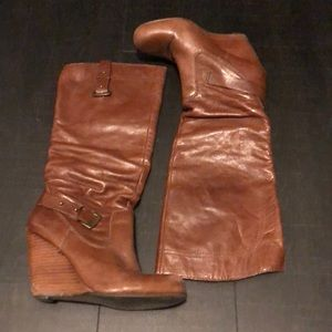 Brown faux leather guess wedges